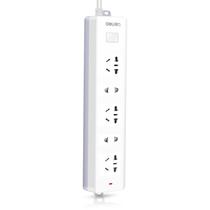 得力 18252 新国标5位2米插座/插排/插线板/接线板(3单孔+2组合孔)安全保护门 白色产品图片主图