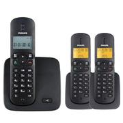 飞利浦 DCTG186(1+2) 数字无绳电话套机 免提对讲 屏幕背光 家用办公座机子母机(黑色)
