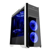 先马 塞恩5白色 游戏电脑机箱 双面钢化玻璃宽体亚克力全侧透/支持ATX主板 SSD硬盘 长显卡 水冷