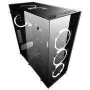 爱国者 月光宝盒曜 黑色 玻璃机箱(支持ATX主板/4面钢化玻璃/标配5只极光RGB风扇/支持360MM冷排)