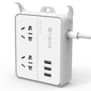 牛顿定律 NTT-2A3U-GY 新国标智能USB插座/插线板/插排/接线板 2位1米 创意牛角支架排插 灰
