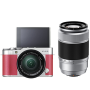 富士 X-A3 (XC16-50II/XC50-230II) 玫红色 微单电双镜头套机 2420万像素 180度翻转触摸屏 WIFI
