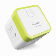 良工 一转四插座转换器魔方电源插座插排插线板 多功能立式总控无线新国标 XD-Q604绿色