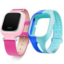小天才 电话手表Y01 经典版 皮革粉色 儿童智能手表360度安全防护 学生定位手机 儿童电话手表 +硅胶蓝表带产品图片主图