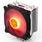 爱国者 冰魄E-4  红光 CPU散热器(多平台/支持AMD/PWM温控/12CM红色呼吸灯风扇/4热管/附硅脂)
