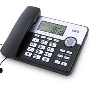 得力 795 来电显示白色背光座机 横式大屏幕双接口办公家用电话机 温度显示 万年历 语音播报(黑色)