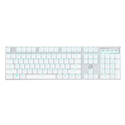 达尔优 EK820 超薄104键游戏背光办公机械键盘 巧克力白色红轴