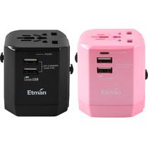 英特曼 双USB出国转换插头 曜石黑+樱花粉 两只装 多国通用插座转换器英标欧标德标产品图片主图