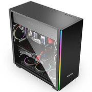 鑫谷 凡仕F1标准版黑色机箱(2条RGB流光灯条/玻璃侧透/0.7mm板材/服务器主板位/背线/防尘)