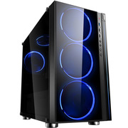 Thermaltake 启航者F3  黑色 玻璃机箱(支持MATX主板/3面钢化玻璃/RGB灯条/电源仓/支持背线/侧透)