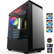 追风者 P300 RGB豪华版 钢化玻璃金属水冷机箱(配3把RGB同步呼吸光圈风扇/支持280水冷/静音防尘)